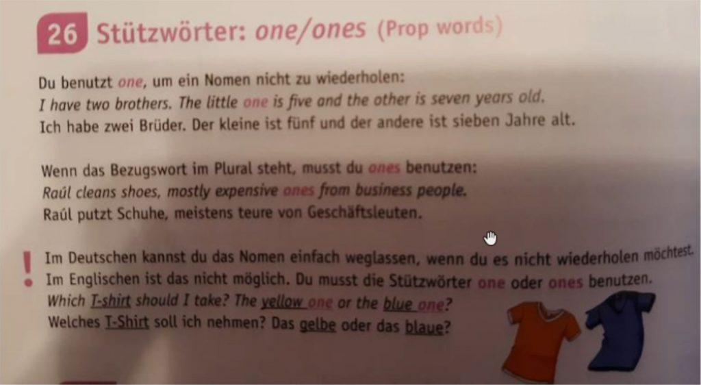 Stützwörter: one/ones